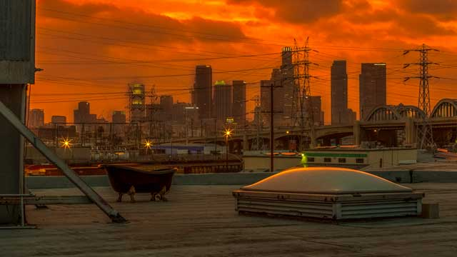 golden hour rooftop in downtown los angeles film and photo studio