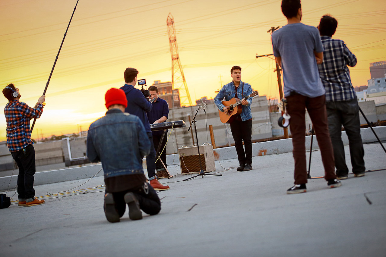rooftop city skyline in DTLA for shooting cityscape view film and photography on warehouse