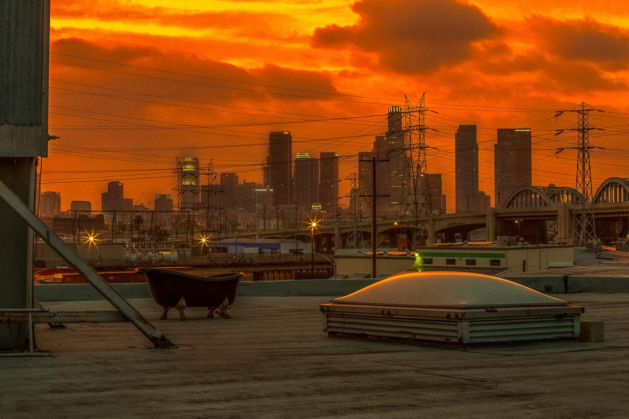 golden hour cityscape skyline rooftop studio in downtown la for film and photo shoots