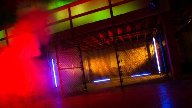 artistic abstract standing sets for low budget music video and photography production in downtown los angeles warehouse