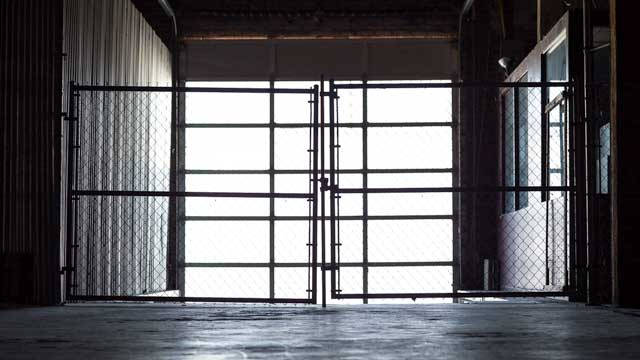 loading dock with natural light and corrugated metal industrial feel in downtown los angeles film and photo studio location