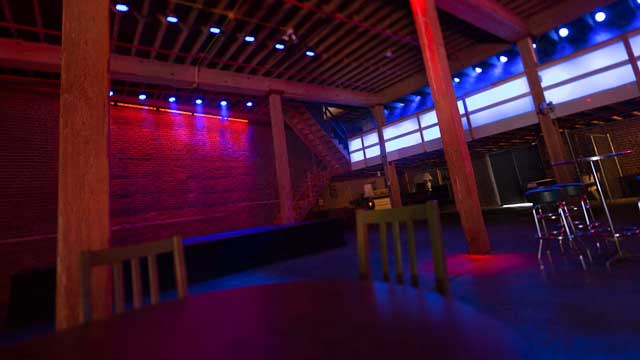 stage lighting included in nightclub space for rent in downtown los angeles warehouse district for film and photography production shooting