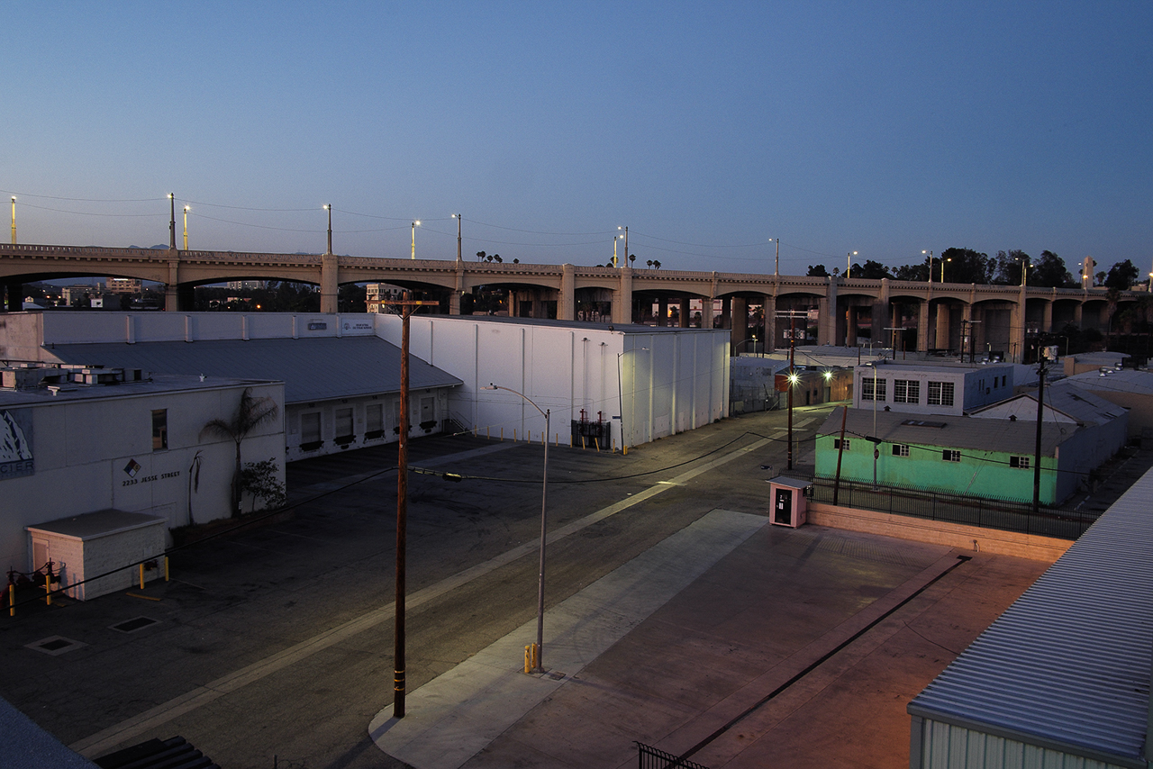 industrial urban warehouse with street view from rooftop for film photography shooting productions