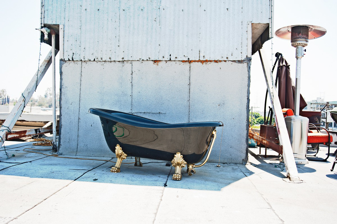 bathtub prop for film production and photo shoots on rooftop of DTLA urban industrial warehouse