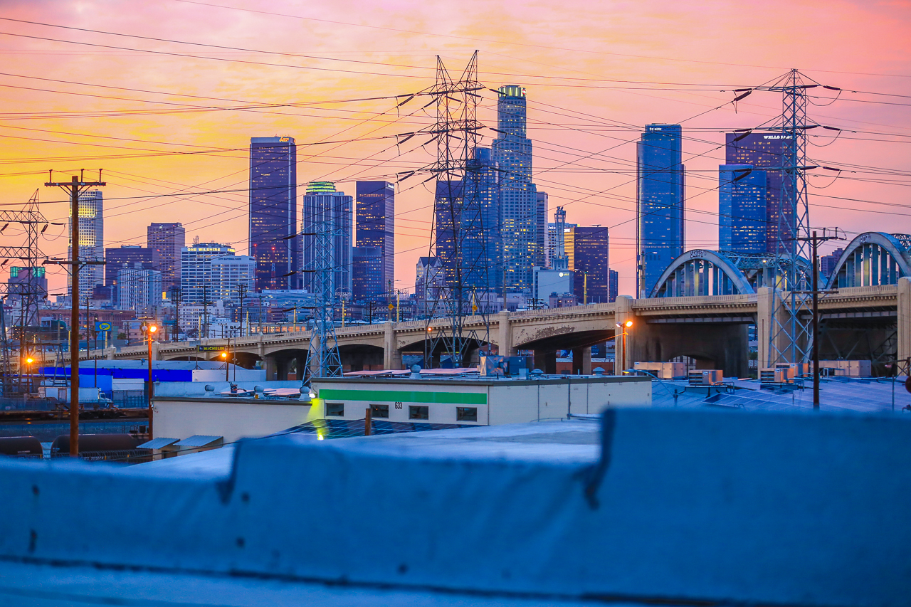 beautiful rooftop skyline city view of downtown LA for film and photography production shooting