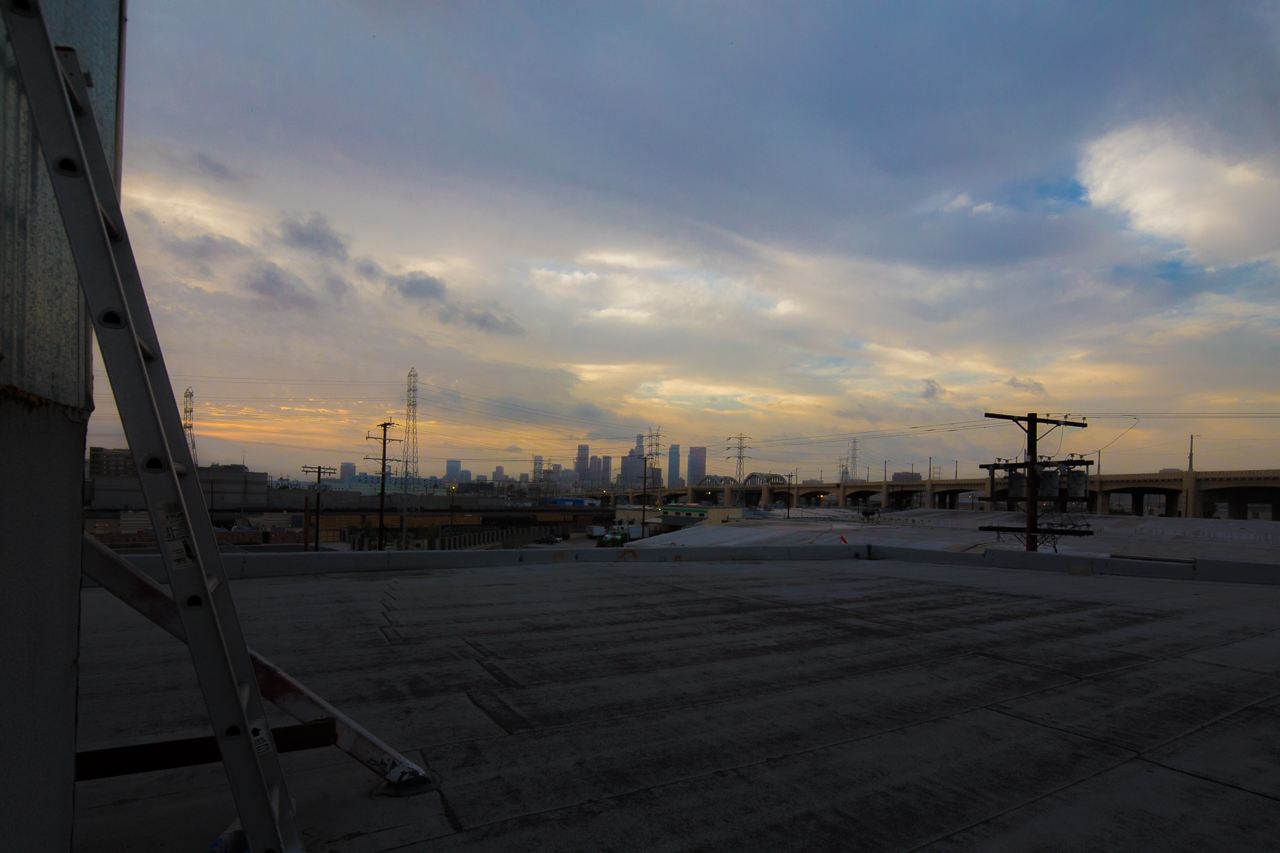 Los Angeles roof top skyline cityscape view for filming photo production shooting