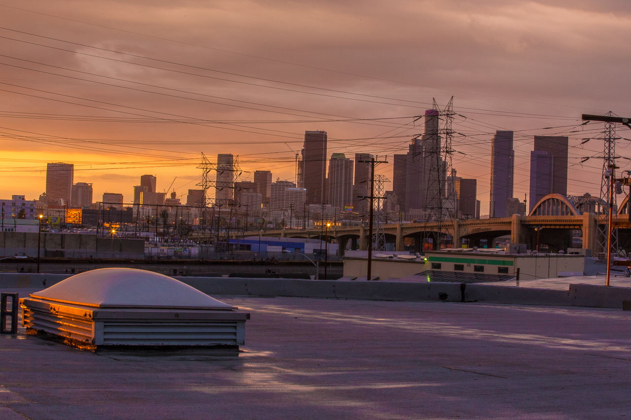 desolate rooftop shoot location with golden hour view of skyline city scape for film and photo shoots