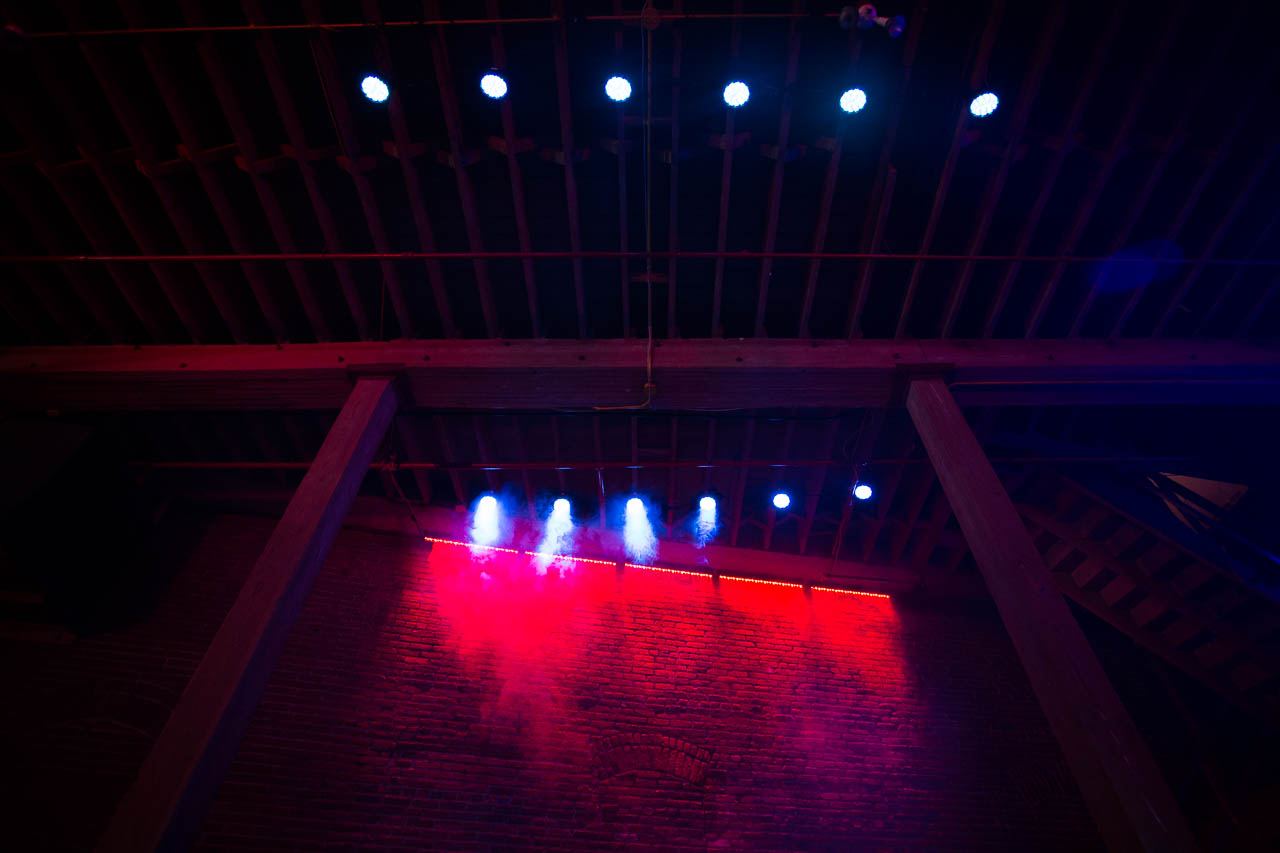underground warehouse night club with full bar stage lighting and vip lounge for film and photo production in downtown los angeles