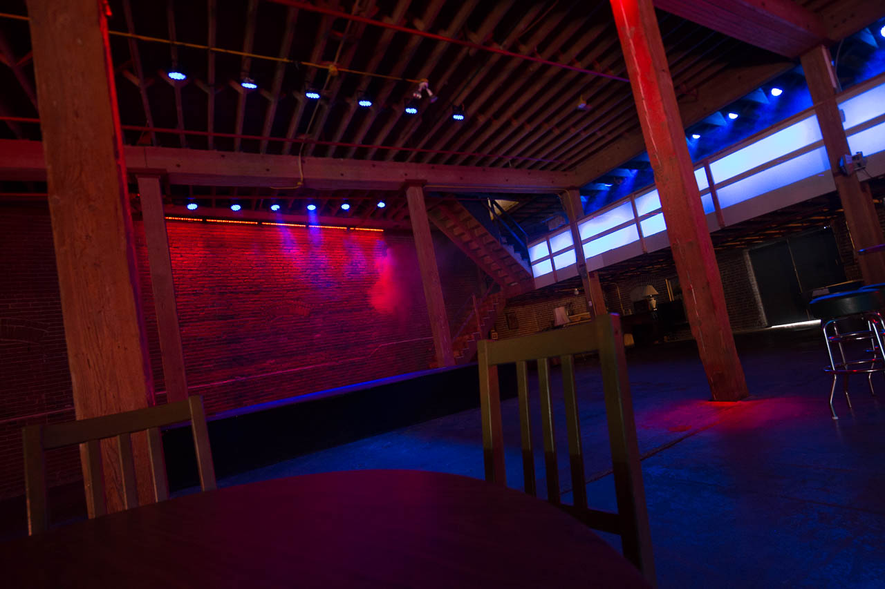 nightclub with full bar and stage lighting for film and photo production in downtown los angeles