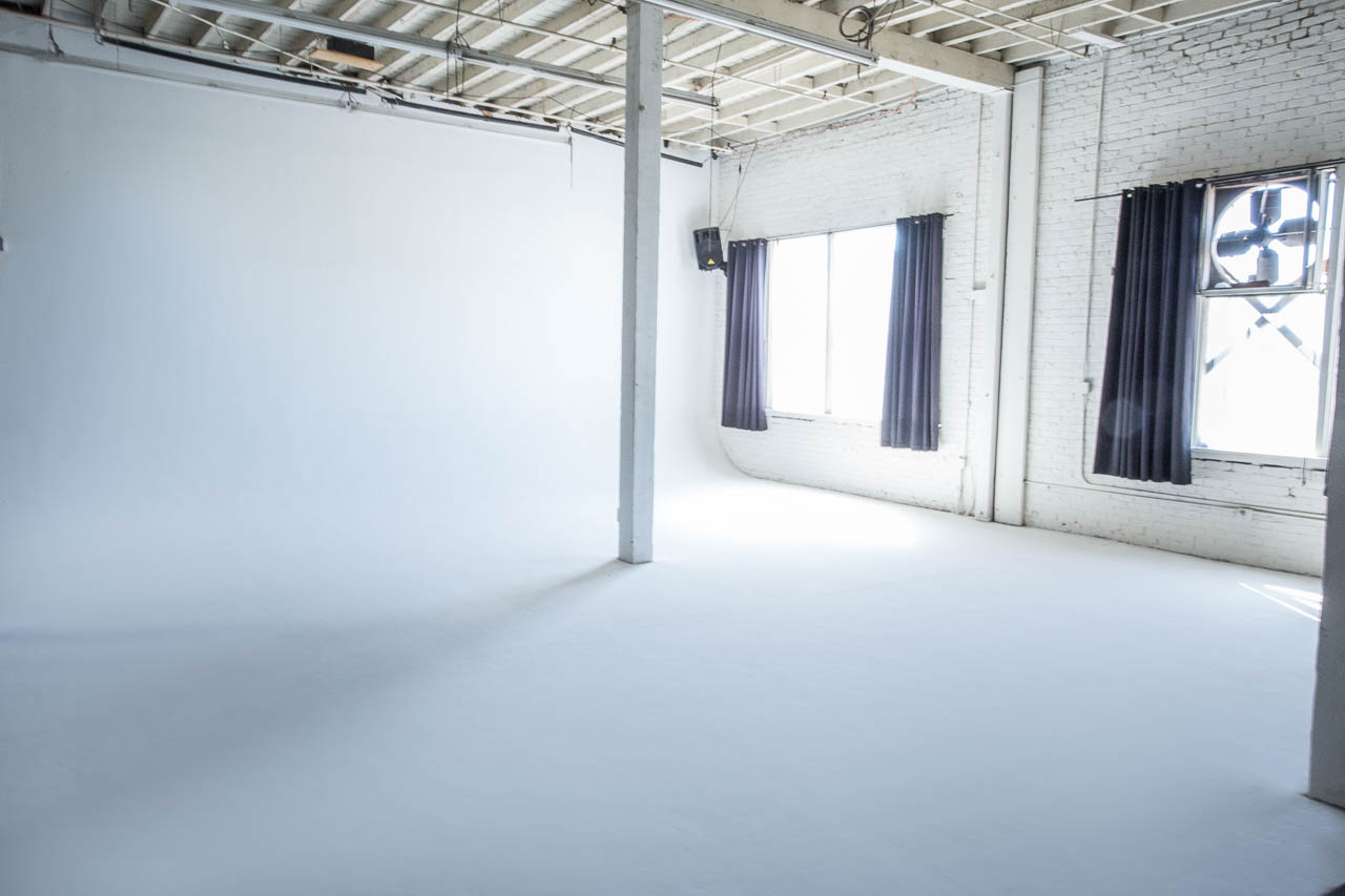 creative space with white cyc and natural light for film and photo production in downtown los angeles