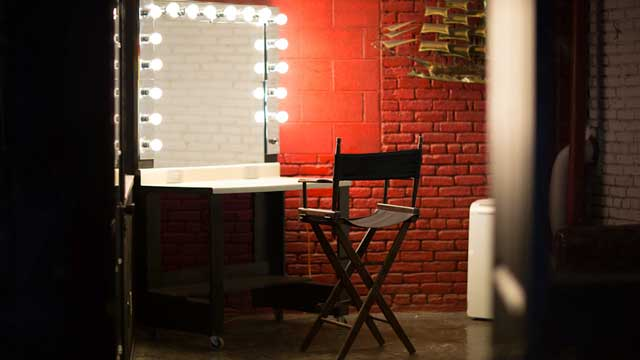 green room makeup room with desk and chair in full service film and photography warehouse studio location for film and photography production